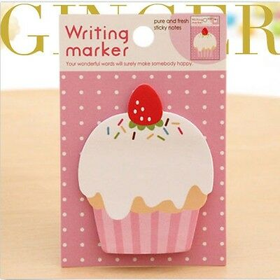 2X Four Leaf Clover Cupcake Sticker Post Bookmark Memo Pad Sticky Notes Index