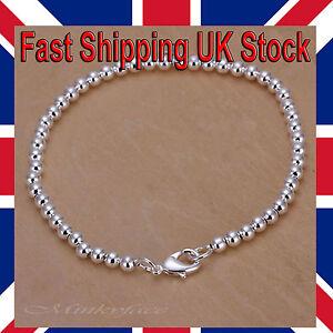 925-Sterling-Silver-plt-Bracelet-Ball-Bead-4mm-Shiny-8-034-Girls-Free-Gift-Bag