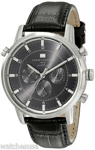 fa02405dd3 Image is loading Tommy-Hilfiger-1790875-Black-Dial-Leather-Band-Chronograph-