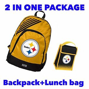 Image Is Loading Nfl Pittsburgh Steelers Backpack Lunch Bag 2 In1