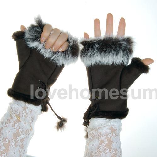 Coffee Womens Winter Warm Suede Fingerless Gloves Rabbit Fur Mittens Dark