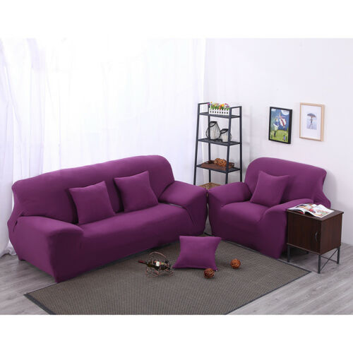 Solid Stretch Lounge Couches Slipcover Sofa Cover Protector 1 2 3 4 Seaters New
