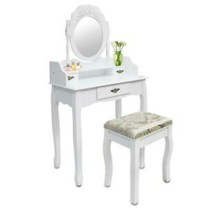 Make Up Tisch Weiss 3 Schubladen Ovaler Spiegel Mit Profil Ebay