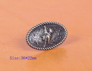 6PC-36-22MM-ANTIQUE-BRASS-SILVER-WESTERN-COWBOY-COWGIRL-RODEO-CALF-ROPER-CONCHO