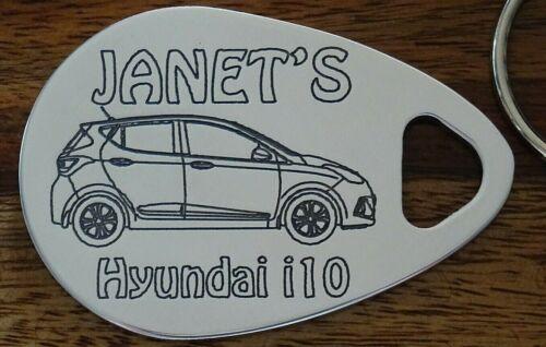 Personalised HYUNDAI i10 keyring  2014-19 ANY NAME engraved polished aluminium