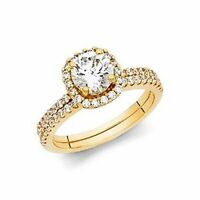14k Yellow Or White Gold Wedding Engagement Ring And Matching Band 2 Piece Set