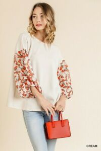 Umgee Floral Bohemian Burnout Sleeve Waffle Knit Top Plus Size XL 1X