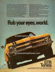 1970 LC HOLDEN TORANA GTR A3 POSTER AD BROCHURE MINT ADVERT ADVERTISEMENT