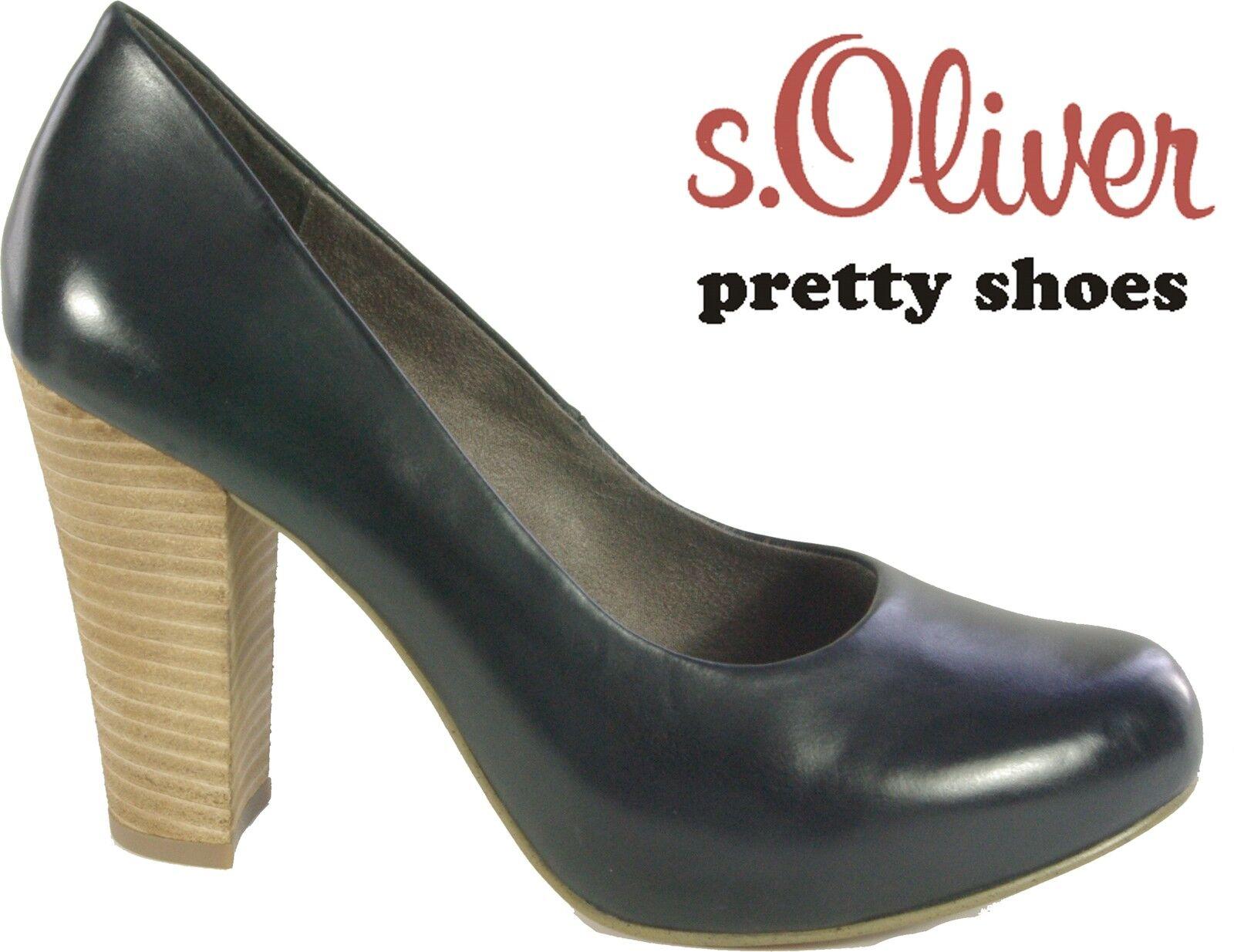 s.OLIVER Schuhe Pumps schwarz high heel ( 8 cm Absatz ) echt Leder NEU