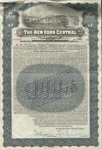 New-York-Central-Railroad-Company-gt-1-000-gold-bond-certificate-1913-stock