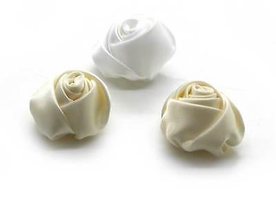 20 Rosen Satin Weiss +creme Posamento Stoffrosen Hochzeit Nähen Kleben Deko Rose