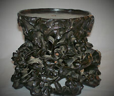Excelente Antiguo Chino Tallado De Madera Jade/Pot Soporte Árbol ratas perforado 3D