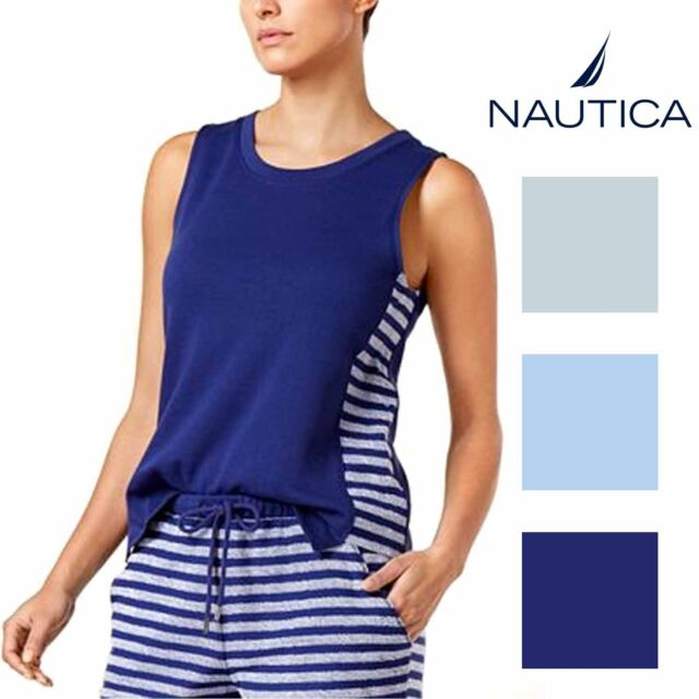 Nautica Womens French Terry Side-Striped Pajama Tank Top