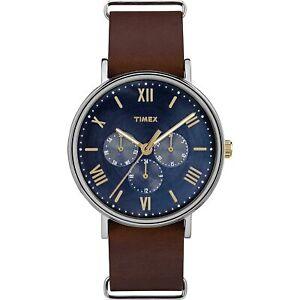 Timex-Men-039-s-TW2R81900-Southview-Blue-Dial-Brown-Leather-Slip-Thru-Strap-Watch