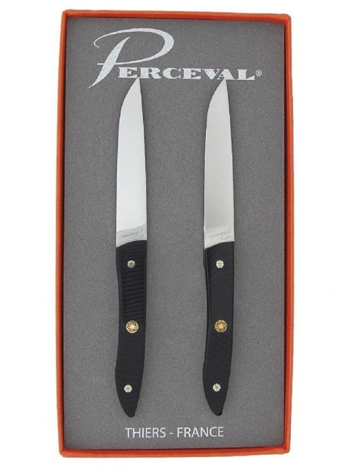 Coffret cadeau 2 couteaux de table ATELIER PERCEVAL gamme ADRET manche G10 noir