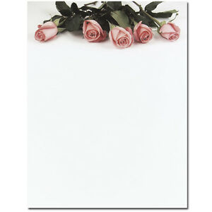 Pink Roses Floral Wedding Stationery Letterhead 25 Or 80pk Ebay