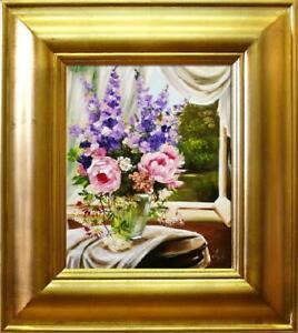 Rosen-Blumen-Olgemaelde-Bild-Gemaelde-Olbilder-Olbild-Bilderrahmen-Rahmen-G03414