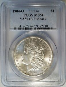 1904-O-Silver-Morgan-Dollar-PCGS-MS-64-Vam-4B-Fish-Hook-Hit-List-Mint-Error-Coin
