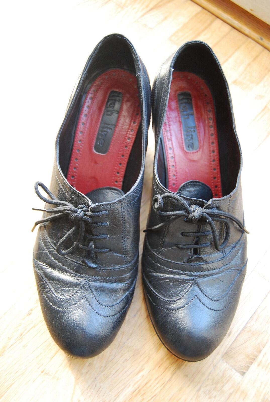 Gran High Line Negro Victoriano Real Cuero Con Cordones Zapatos Borgues