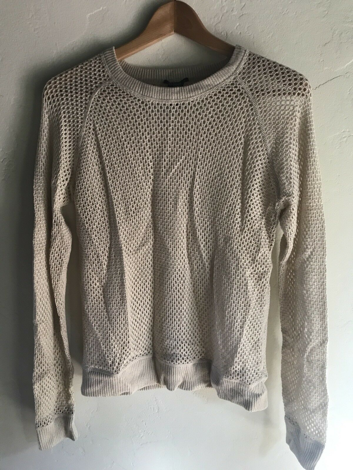 NEW  200 Theory Oatmeal Silk Cashmere Allie Mesh Knit Crewneck Sweater Medium