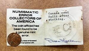 Canada-Cent-Struck-on-Split-Planchet-only-6-gram-weight-Error-NECA-COA