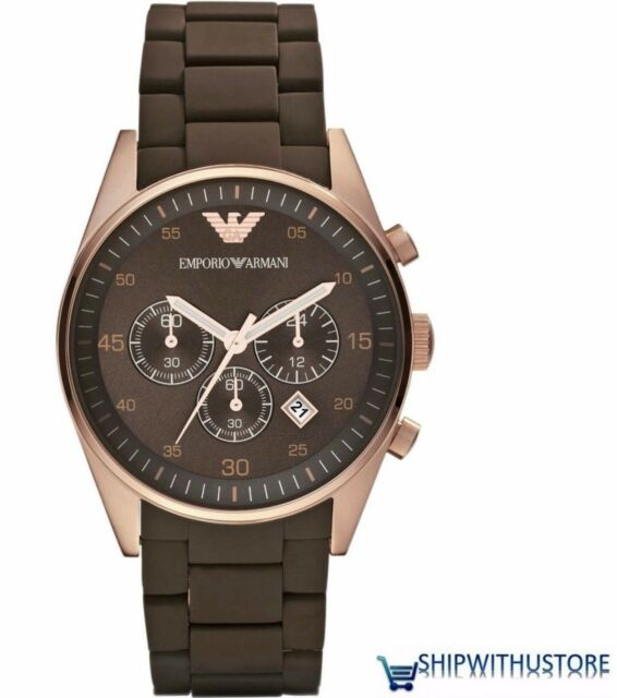 Emporio Armani Mens AR5890 Brown Dial Rubber Strap Chronograph Designer Watch