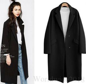 Damenmode-Mantel-lapel-coat-Windjacke-Blazer-OL-Jacke-lange-formale-Outwear-neu