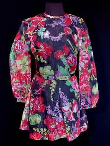 RARE-FRENCH-VINTAGE-1960-039-S-1970-039-S-SHEER-FLORAL-PRINT-MINI-DRESS-SIZE-6