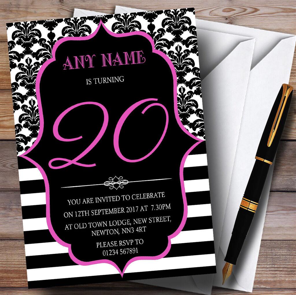 Vintage personnalisé damask rose 20th personnalisé Vintage fête d'anniversaire invitations bf2ca8