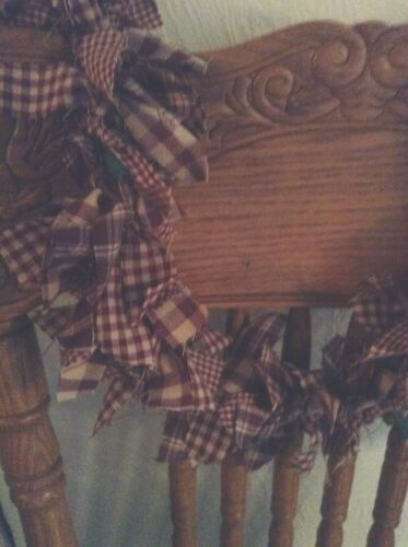 swag  hand tied With  lights 6/' burgundy and tea dyed garland
