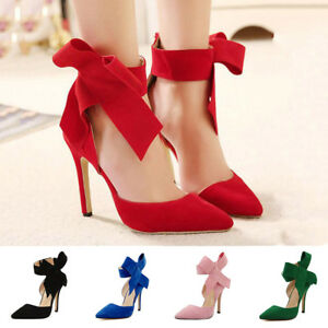 6d09c0831eb0 Ankle Strap Big Bow Pointy Toe Sandals High Heels Stiletto Evening ...