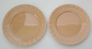 "MSE Basketweave Scone Side Plate Coral Pink 8"" Martha Stewart Everyday Set of 2"