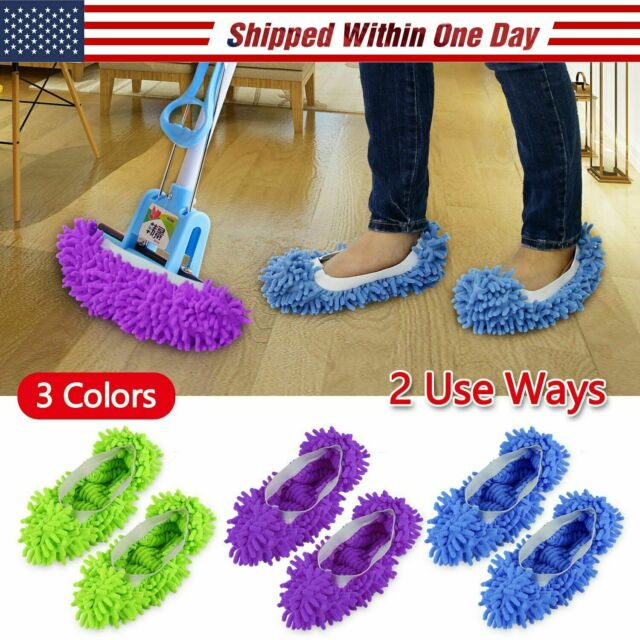 2PCS Mop Slippers Lazy Floor Foot Socks Shoes Quick Polishing Cleaning Dust