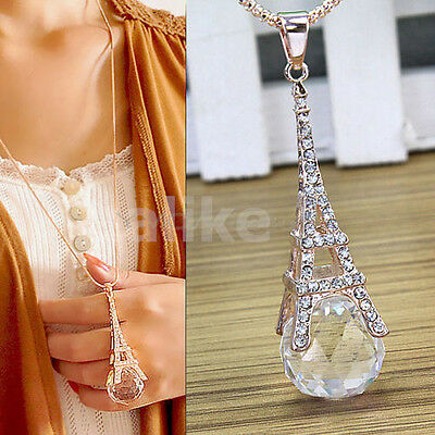 Women Paris Eiffel Tower Transparent Crystal Ball Pendant Long Necklace Gift New