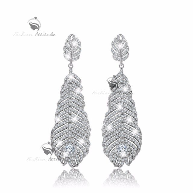 18k white gold gf made with SWAROVSKI crystal leaves stud earrings 925 silver