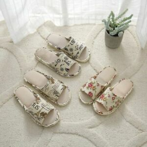 Men-Women-House-Indoor-Slippers-Warm-Casual-Linen-Plaid-Shoes-Sandals