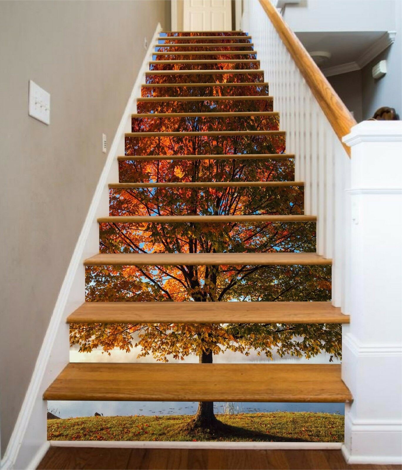 3D Big Tree river Risers Decoration Photo Mural Vinyl Decal Wallpaper CA