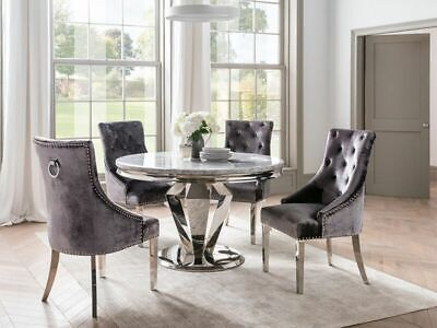 Dining Table Chrome Marble Round Dining Table 130cm 4 Chairs Grey Ebay