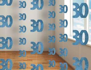 30-ANOS-30th-Cumpleanos-Decoracion-Azul-Fiesta-Colgante-1-unidad-con-30-piezas
