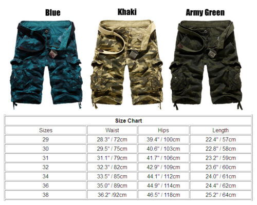 Mens Military Army Camouflage Combat Shorts Pants Pockets Loose Half Trousers