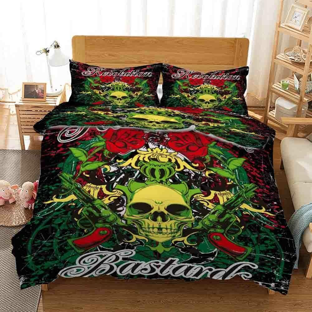 Grün Skull Crown 3D Druckening Duvet Quilt Will Startseites Pillow Case Bettding Sets