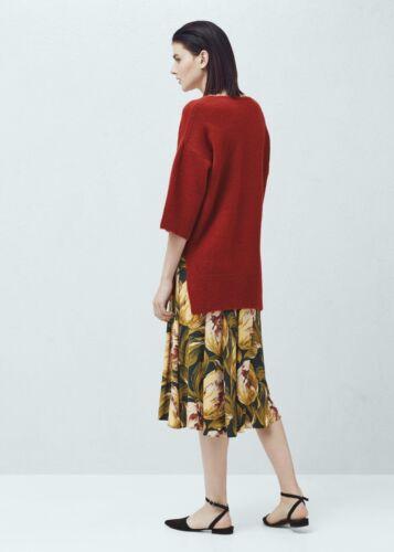 Green Yellow Floral Pleated Folds Midi Skirt Mango Size UK 6 US 2 Zara Blogger❤