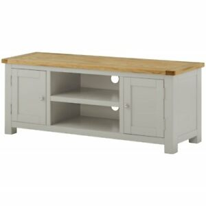 cheaper d6602 bd857 Details about Padstow Large Painted Grey TV Stand / Solid Wood Stone  Painted Oak TV Unit / New