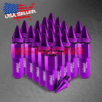 Purple 20 Pcs M12x1.50 Lug Nuts Spiked Extended Tuner Aluminum Wheels Rims Cap