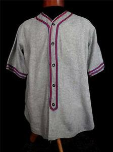 VERY-RARE-COLLECTIBLE-VINTAGE-GREY-1940-039-S-WOOL-BASEBALL-JERSEY-SIZE-LARGE