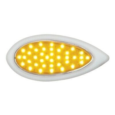 Amber LED//Amber Lens 39 LEDTeardrop Turn Signal Light w//Bezel