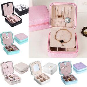 Image is loading Travel-Jewelry-Storage-Case-Solid-PU-Leather-Earrings- & Travel Jewelry Storage Case Solid PU Leather Earrings Rings Zipper ...