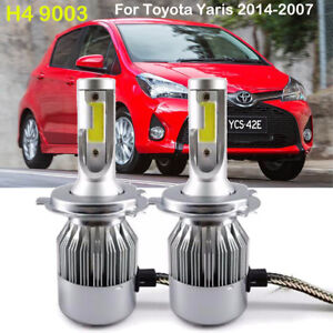 Details About 2pcs H4 Cob Led Headlight Kit Bulbs Fit Toyota Yaris 2017 2007 High Low 6000k