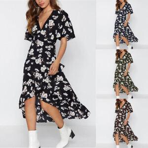 AU-Women-Summer-Short-Sleeve-Floral-Wrap-Party-Long-Chiffon-Maxi-Dress-Plus-Size