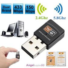 New Dual Band 600Mbps Wireless USB WiFi Network Adapter LAN Card 5Ghz 802.11AC